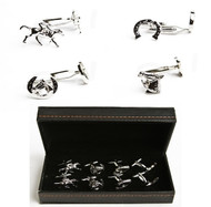 4 pairs assorted horseshoe and horse jockey cufflinks gift set with presentation gift box
