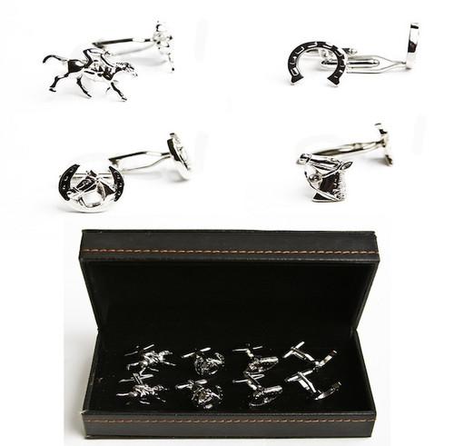 4 pairs assorted horseshoe and horse jockey cufflinks gift set with presentation gift box