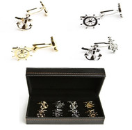 4 pairs assorted ship wheel & anchor cufflinks gift sets shown as pair beside presentation gift box and displayed in the cufflinks gift box. Cufflinks gift set includes: 1 pair silver ship wheel cufflinks 1 pair gold ship wheel cufflinks 1 pair silver anchor cufflinks  1 pair gold anchor cufflinks