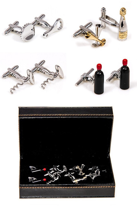 4 pairs sommelier bartender cufflinks gift set with presentation gift box includes: 1 pair Red Wine Bottle Cufflinks 1 pair Champagne Bottle & Champagne flute cufflinks 1 pair Bottle Cap & Bottle Opener cufflinks 1 pair Corkscrew cufflinks