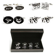4 pairs assorted stock market theme cufflinks gift set with presentation gift box includes: 1 pair buy sell cufflinks 1 pair buy low sell high graph cufflinks 1 pair bull and bear cufflinks 1 pair charging bull cufflinks