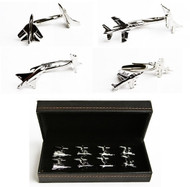 4 pairs assorted jet air plane cufflinks with presentation gift box displayed beside the cufflinks gift box