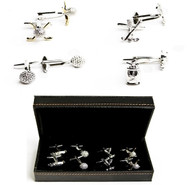 4 pairs assorted golf cufflinks gift set with presentation gift box includes: 1 pair gold golf clubs & golf ball cufflinks  1 pair silver golf ball cufflinks 1 pair silver golf clubs with golf ball cufflinks 1 pair silver golf bag cufflinks