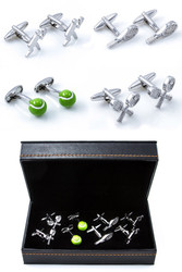 4 Pairs Assorted Tennis Cufflinks Gift Set with presentation gift box close up image