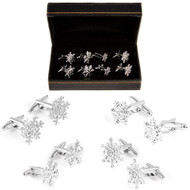4 Pairs Assorted Snowflake Cufflinks Gift Set with presentation gift box close up image