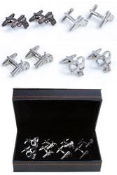 4 Pairs Assorted Pistol Hand Guns & Handcuff Cufflinks Gift Set displayed with Presentation Gift Box close up mage