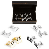 4 Pairs Assorted Piano Keys Cufflinks Gift Set with presentation gift box close up image