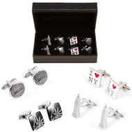 4 Pairs New York City Cufflinks Gift Set with Presentation Gift Box close up image