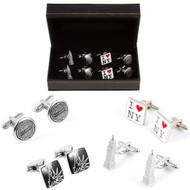 4 Pairs New York City Cufflinks Gift Set with Presentation Gift Box close up image