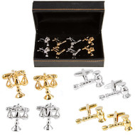4 Pair Lawyer Cufflinks Gift Box; 4 Pair Gavel Cufflinks & Scales of Justice Cufflinks Gift Set