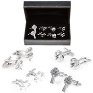 4 Pairs Celtic Irish Cufflinks Gift Set with Presentation Gift Box close up image