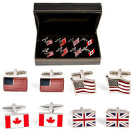 4 Pairs Assorted Flag Cufflinks Gift Set with presentation gift box includes 1 Pair Canadian Maple Leaf Flag Cufflinks 1 Pair United Kingdom Great Britain Flag Cufflinks 1 Pair Flag Of USA Cufflinks wavy design 1 Pair American Flag Cufflinks