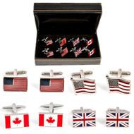 4 Pairs Assorted Flag Cufflinks Gift Set with presentation gift box includes 1 Pair Canadian Maple Leaf Flag Cufflinks 1 Pair United Kingdom Great Britain Flag Cufflinks 1 Pair Flag Of USA Cufflinks wavy design 1 Pair American Flag Cufflinks