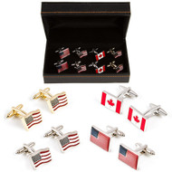 4 Pairs Assorted USA American Flags & Canadian Flag Cufflinks Gift Set with Presentation Gift Box close up image