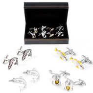 4 Pairs Assorted Fish & Fishing Reel Cufflinks Gift Set with presentation gift box