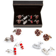 4  Pairs Fire Department cufflinks Gift Set with Presentation Gift Box close up image