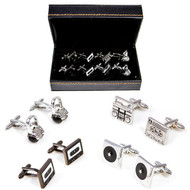4 Pairs DJ Turntable Cufflinks Gift Set with presentation gift box includes 1 Pair record player turntable cufflinks 1 Pair DJ Headphone cufflinks 1 Pair Vintage Style Maxell Cassette Tape Cufflinks 1 Pair Boombox and mixtape cufflinks