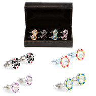 4 Pairs Casino Poker Chip cufflinks Gift set with Presentation Gift Box close up image