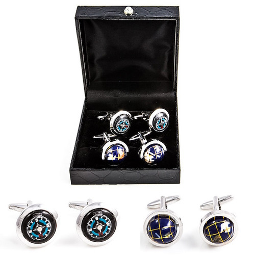 2 Pairs World Traveler Cufflinks Gift Set includes spinning globe cufflinks & working N S E W directional Compass cufflinks shown as pairs displayed outside the presentation gift box close up image