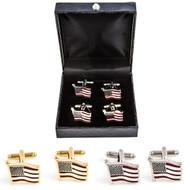 2 Pairs American Flag Cufflinks Gift Set; USA Flag Cufflinks Gift Set wavy design includes 1 Pair of Gold American Flag Cufflinks 1 Pair Silver USA Flag Cufflinks