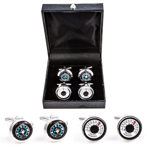 2 pairs of Compass & Thermostat Celsius Fahrenheit Temperature cufflinks gift set with presentation gift box close up image