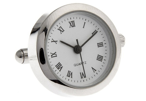 round face working watch cufflinks with roman numerals close up image