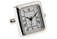 working watch cufflinks rectangle shape white face with roman numerals close up image