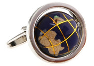 Globe cufflinks that really spin close up image