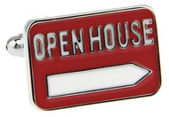 red and white Realtor open house sign cuff links close up image