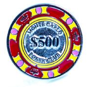 red and yellow $500 casino poker chip cufflinks close up image