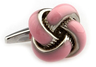 Baby Pink Knot Cufflinks close up image