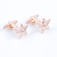 Gold star military general cufflinks shown as a pair close up image