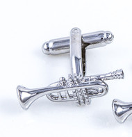 Silver Trumpet Cufflinks close up mage