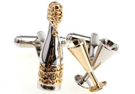 gold & silver champagne bottle with champagne flute cufflinks close up image