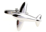 smooth shiny silver jet airplane cufflinks close up image
