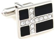 black enamel square crystal cross cufflinks close up image