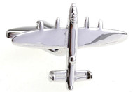 silver air plane bomber jet cufflinks close up image
