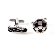 black and silver soccer cleat soccer ball cufflinks shown as a pair close up image