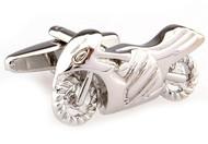 silver street bike crotch rocket super bike motorcycle cufflinks close up image