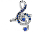 Treble Clef Cufflinks with blue crystals close up image