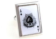 playing cards Ace of Spades cufflinks close up image