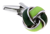 light green and dark green knot cufflinks close up image