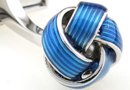 Bright Blue striped knot cufflinks close up image