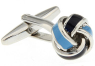 2 tone light blue dark blue knot cufflinks close up image