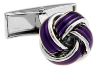 Silver and Purple Knot Cufflinks close up image