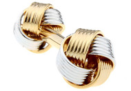 silver and gold knot cufflinks dual knot ends close up image