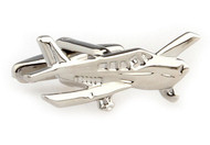 Silver Cessna airplane cufflinks close up image
