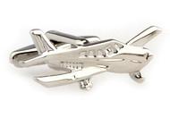 Silver Cessna airplane cufflinks close up image