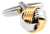 Gold and Silver 2 tone 4 band knot cufflinks close up image