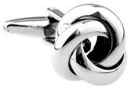 silver smooth knot cufflinks swirl band close up image